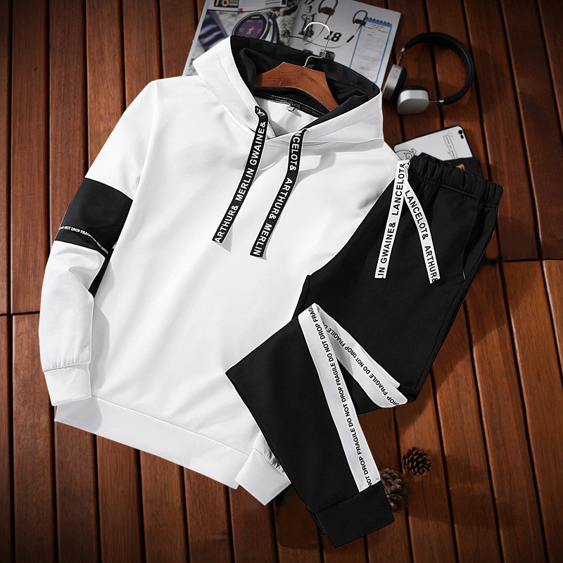2018 Men Spring And Autumn Hooded Pullover Hoody Leisure Sports Suit Handsome Korean-style Two-Piece Set