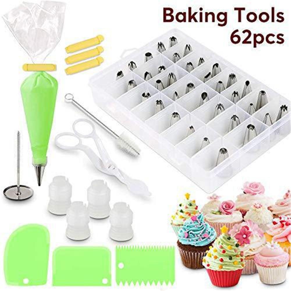 62pcs Cake Decorating Kit Cake Rotating Turntable Icing Piping Nozzles Cake Spatula Kitchen Baking Pastry