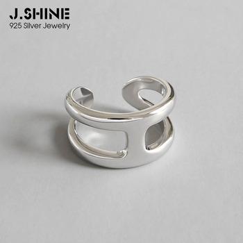 JShine koreański styl japoński w kształcie litery H 925 Sterling Silver Rings dla kobiet szeroki otwarty pierścień obrączki Fine Jewelry tanie i dobre opinie BIG J W 925 sterling Kobiety NONE Brak R0284 GEOMETRIC TRENDY Obrączki ślubne Na imprezę 16 9 mm US 6 5 rings for women wedding bands rings for party