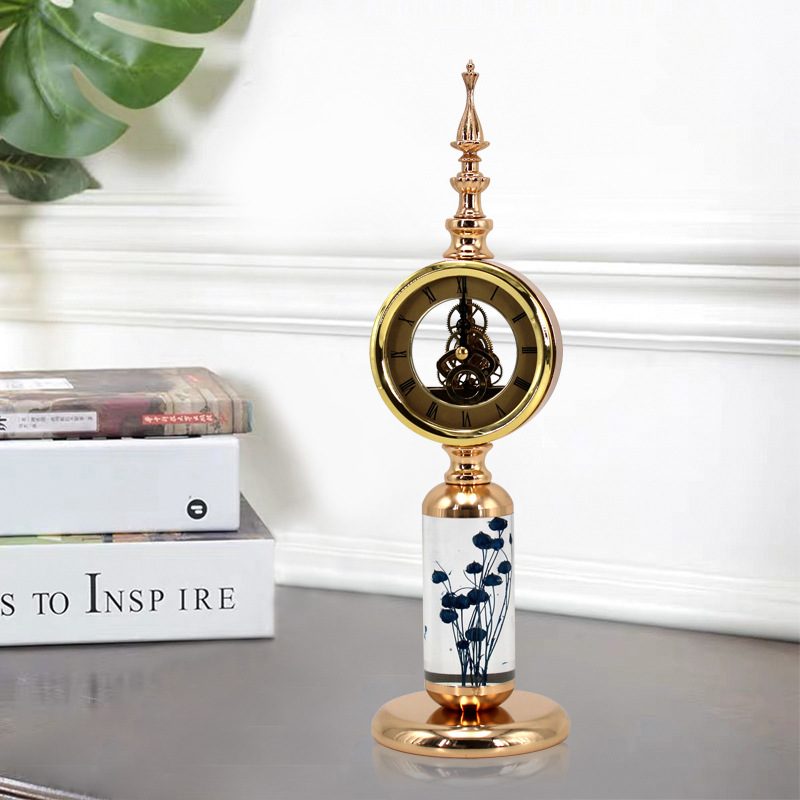 Stand Luxury Desk Clock Antique Simple Office Electronic Table Watch Vintage Shabby Chic Standing Horloge Clocks BY50ZZ