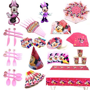 Kids Birthday Party Minnie Mouse Decoration Set Party Supplies Paper Cup Plate Napkins Banner/Flag Hat Straw Candy Box Supply image