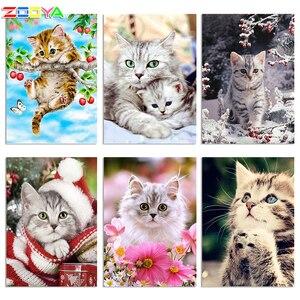 Image 1 - ZOOYA Diamond Embroidery DIY Diamond Painting Animal Cute Cat &Fruit Tree Diamond Painting Cross Stitch Rhinestone Mosaic BY18