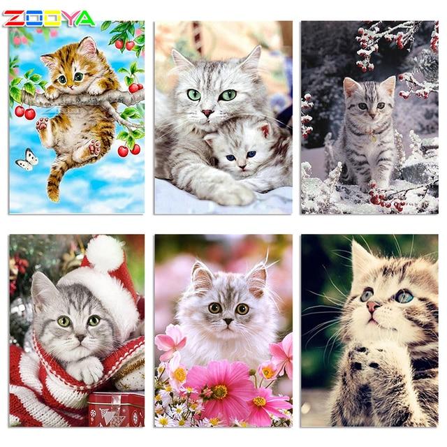 ZOOYA Diamond Embroidery DIY Diamond Painting Animal Cute Cat &Fruit Tree Diamond Painting Cross Stitch Rhinestone Mosaic BY18
