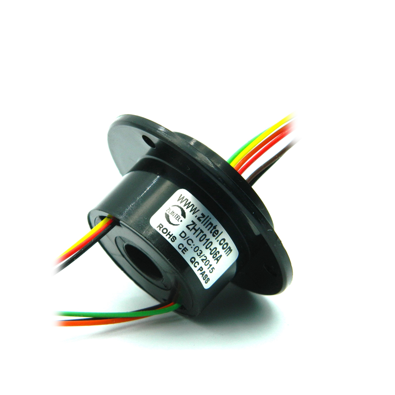 Mini Hole 10mm Hollow Slip Ring 6 Channels 2A  Conductive Electric Slipring Rotary Joint Connector 240V AC/DC ZHT010-06A