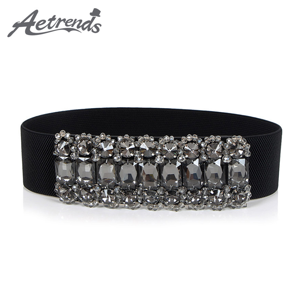 [AETRENDS] Women Belts Solid Rhinestone Cinch Crystal Elastic Band Plus Elastic Stretchy Retro For Female Skirt D-0114