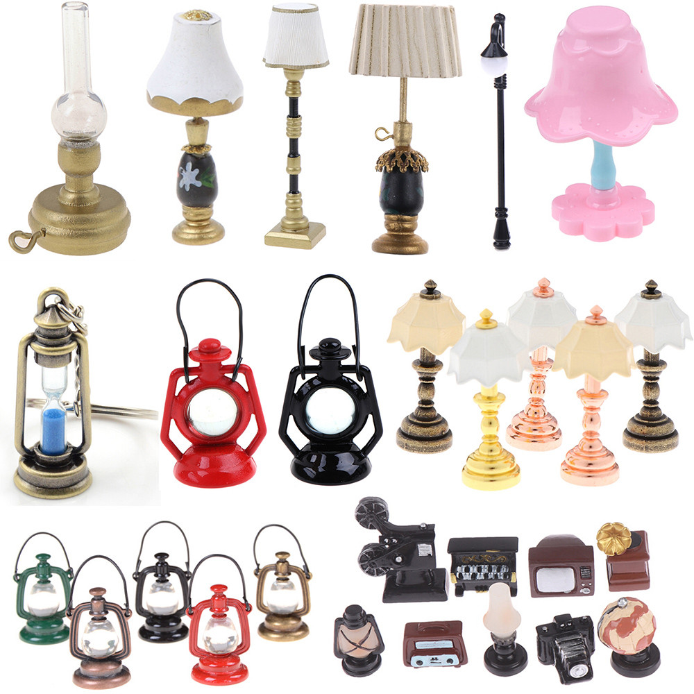 1/2Pcs Mini 1:12 Miniature Table Candlestick Retro Kerosene Lamp Doll House Lamps Decor Accessories Dollhouse Furniture Toys