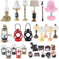 1/2Pcs Mini 1:12 Miniature Table Candlestick Retro Kerosene Lamp Doll House Lamps Decor Accessories Dollhouse Furniture Toys|Furniture Toys|   -