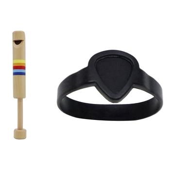 Bransoletka z gitarą Pick przenośny sportowy pasek na nadgarstek opaska na nadgarstek akcesoria gitarowe (czarny) z drewniany flet tanie i dobre opinie CN (pochodzenie)
