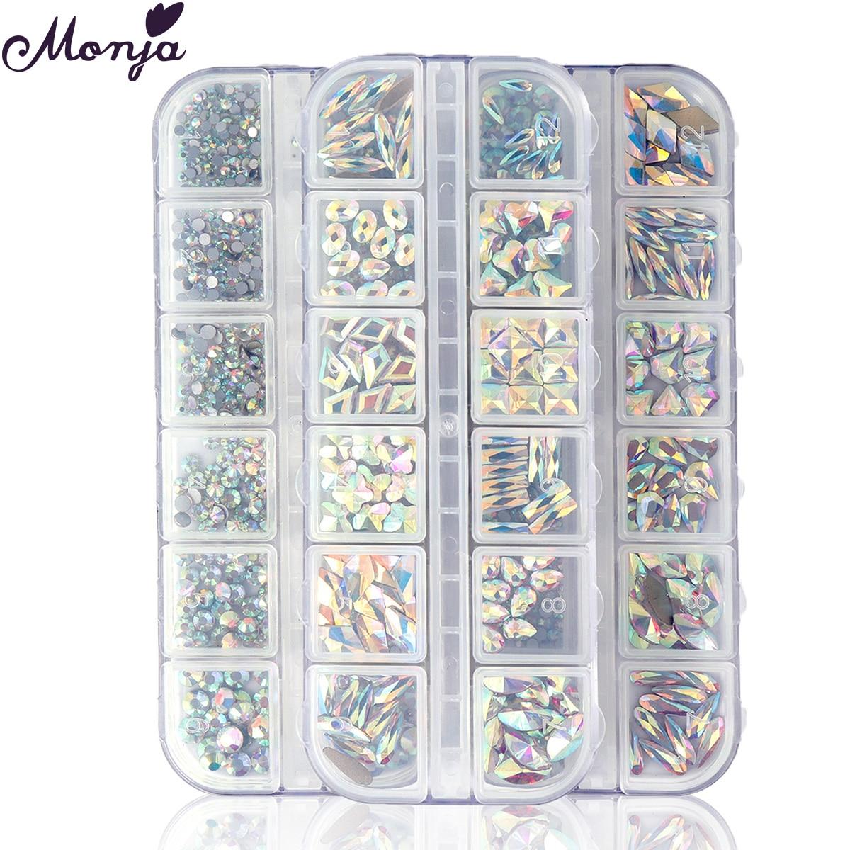 Monja 12 сетки/коробка 3D Шарм Красочные мульти-разных размеров Форма с украшением в виде кристаллов украшения искусства ногтя AB плоские стразы ...