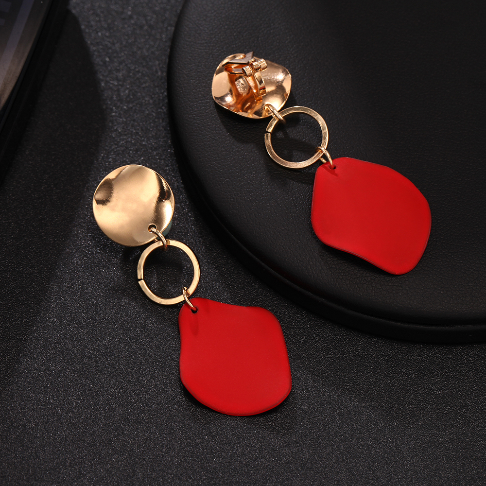 Fashion Geometric clip Earring for Women Brincos Vintage Red Green white no hole Earring 2019 Irregular Korean Jewelry
