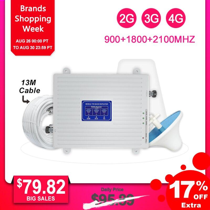 2G 3G 4G Tri bande répéteur de Signal cellulaire Booster de Signal LTE GSM 900 1800 2100 70dB amplificateur de téléphone Mobile Kit d'antenne LDPA-