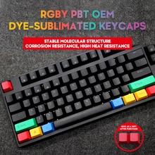 Механическая клавиатура PBT, колпачки клавиш OEM Profile RGBY 12 клавиш для Cherry GK61 Anne Pro 2 SK61 PC Gamer