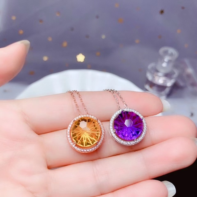 Amethyst and citrine Necklace 925 pure silver lady gem necklace fireworks cutting process