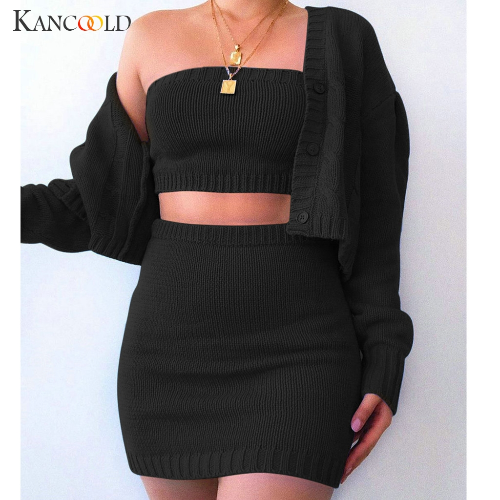 KANCOOLD 3 Piece Set Women Set Outfits Suit Fashion Women's Solid Color Knit Suit Dew Navel Sexy Casual Three-Piece