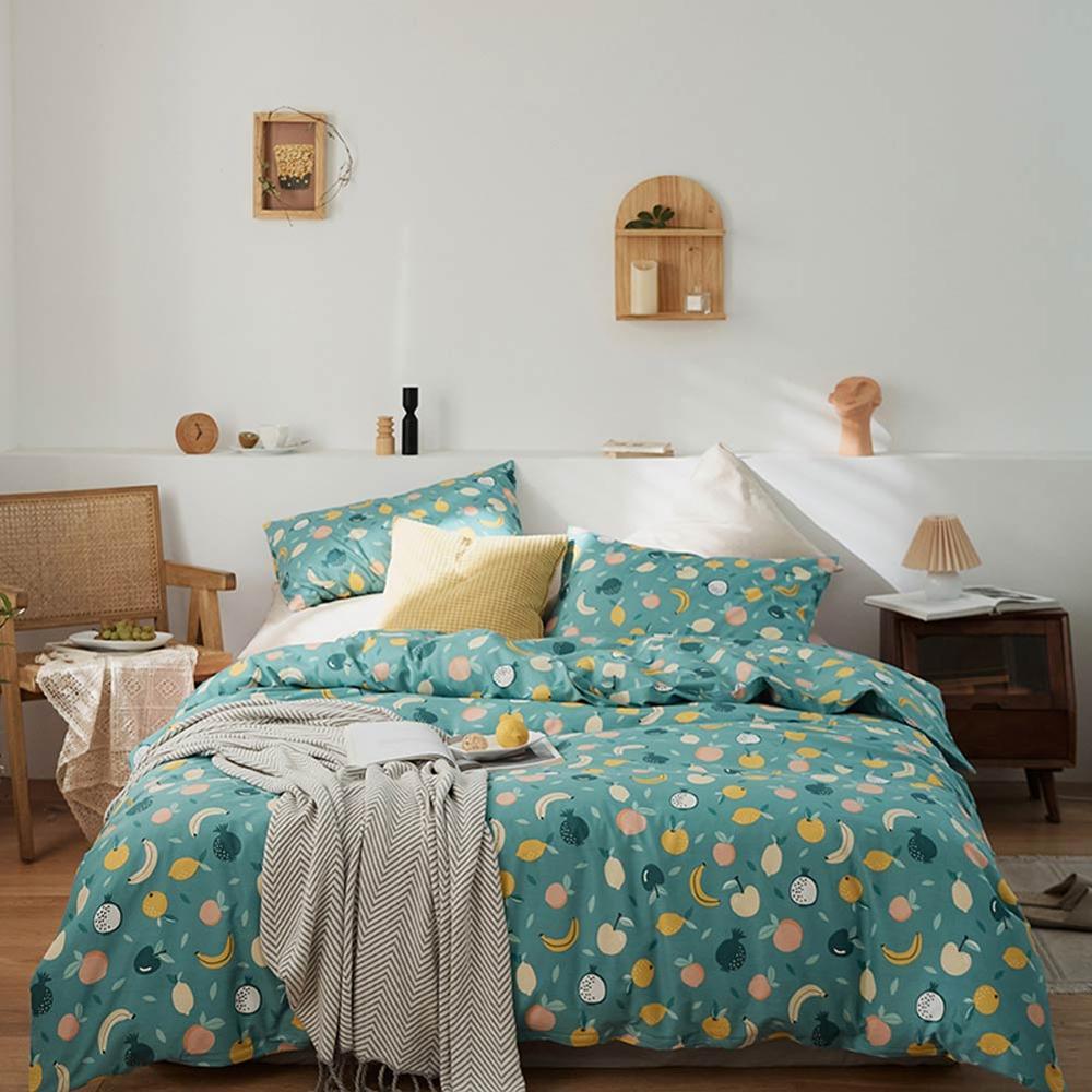 Funda de almohada de sábana de algodón, funda de edredón, juegos de cama estampados, ropa de cama