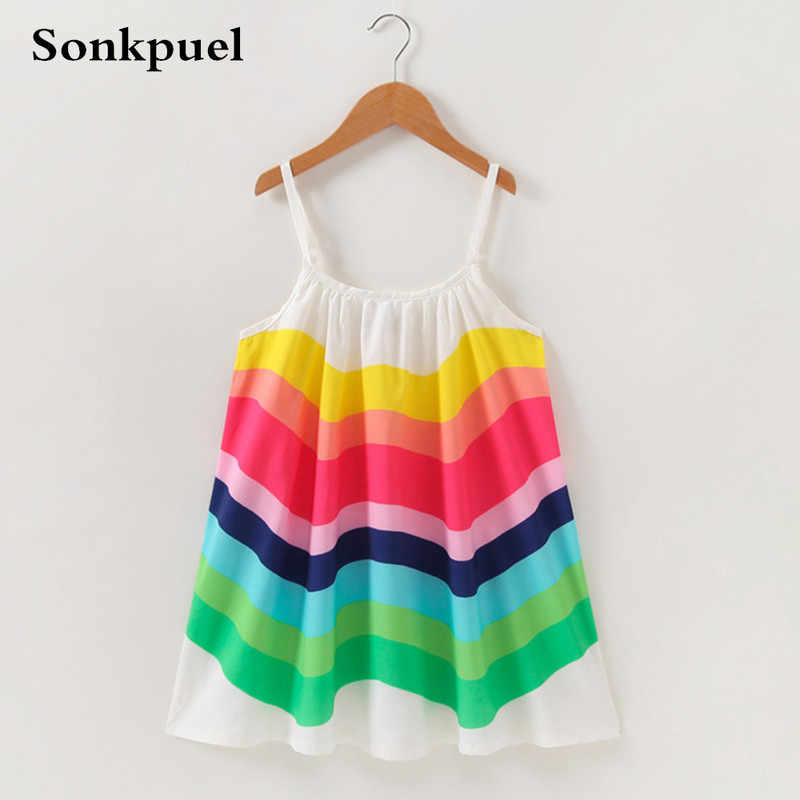 Dress for Girl Children Clothing Summer Baby Girls Sleeveless Rainbow Dresses Clothes Kids Girl Cotton Princess Dress Outfit