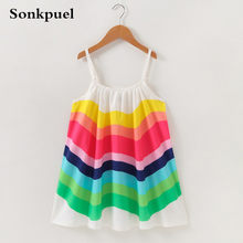 Dress for Girl Children Clothing Summer Baby Girls Sleeveless Rainbow Dresses Clothes Kids Girl Cotton Princess Dress Outfit(China)