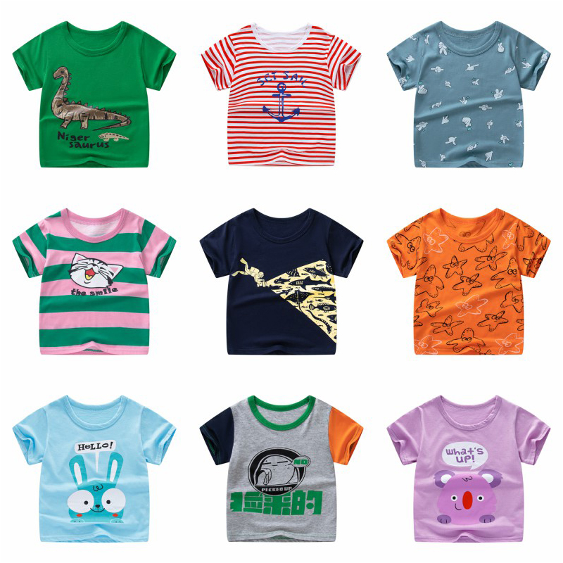 2020 New Summer Children Tees 13 Color Style Boys Girls T-shirts 2-11year Cotton Dinosaur Print Kids Tops Clothes