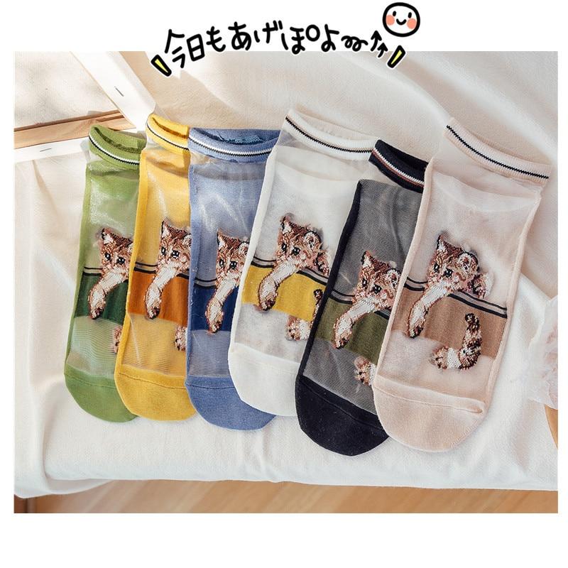 Women Socks 2020 Spring New Fashion Cartoon Cats Korean Style Trendy Thin Summer Casual Ankle Socks Printed Female Funny Socks