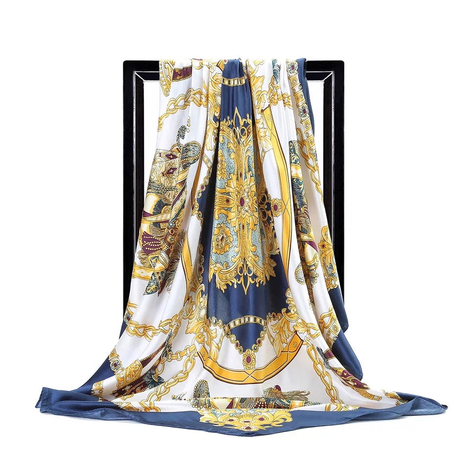 luxury brand Silk Scarves Women <font><b>Foulard</b></font> <font><b>90</b></font>* 90CM Autumn fashion women large square scarf <font><b>90</b></font>*90cm lady print Beach wraps hijab image