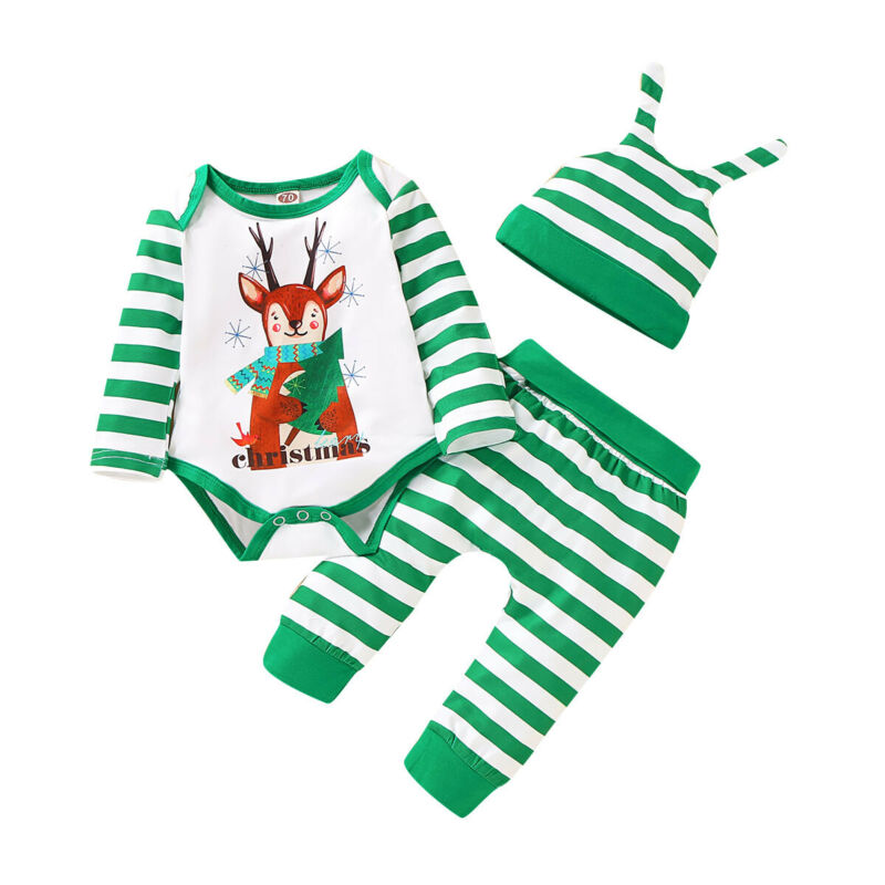 Thorn Tree Christmas Newborn Infant Baby Boy Girl Clothes Long Sleeve Romper Strip Plaid Pants Unisex Baby Outfits Sets