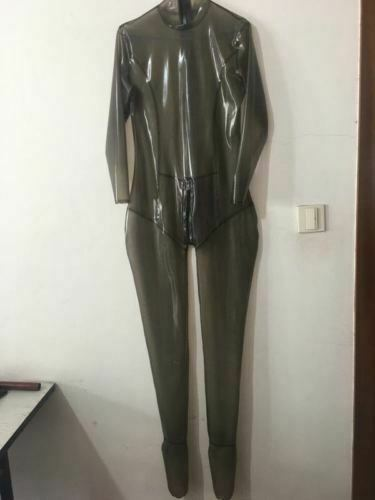 Suit Gummi Latex Rubber Black Raincoat Tights Siamese Clothes 0.4mm Size S-XXL