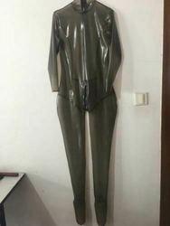 Suit Gummi Latex Rubber Black raincoat Tights Siamese clothes 0.4mm Size S-XXL