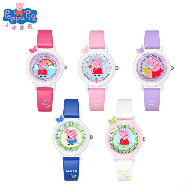 Часы Пеппа свинка Аниме Фигурки игрушки Детские Мультяшные электронные часы с кожаным ремешком для мальчиков и девочек кварцевые часы детс...