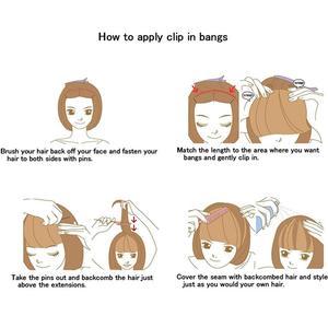 Image 5 - #4 Brazilian Human Hair Clip in Hair Bang Full Fringe Short Straight Hair Extension for women 6 8inch