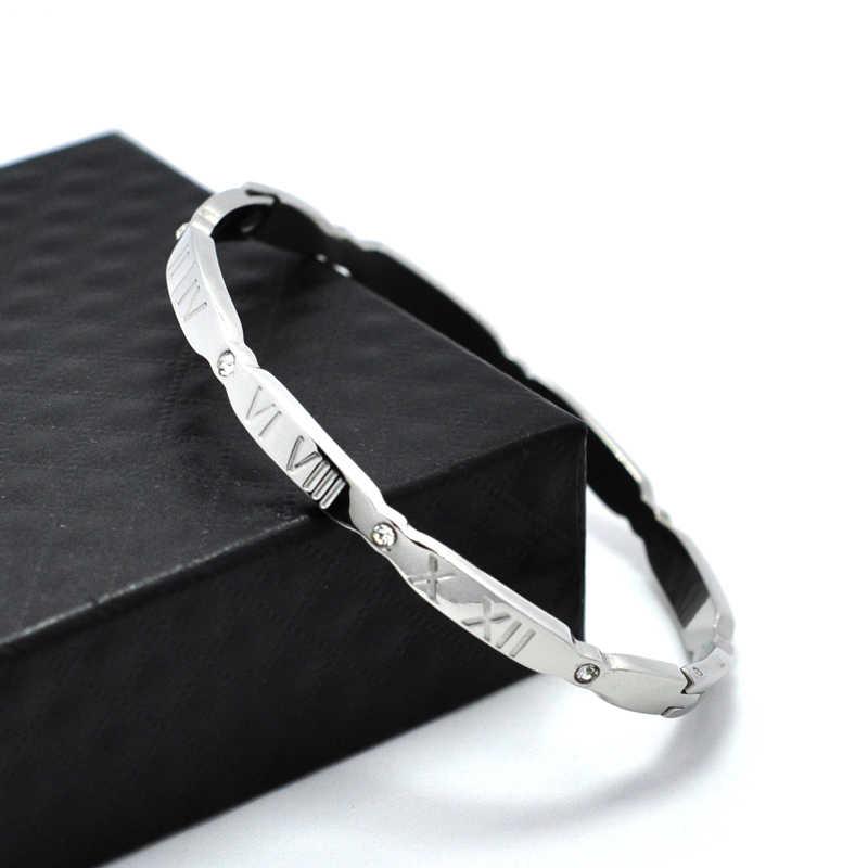 Marca de jóias feminino pulseiras zircônia cristal aço inoxidável pulseira ouro cor escultura numerais romanos pulseira & pulseira presente