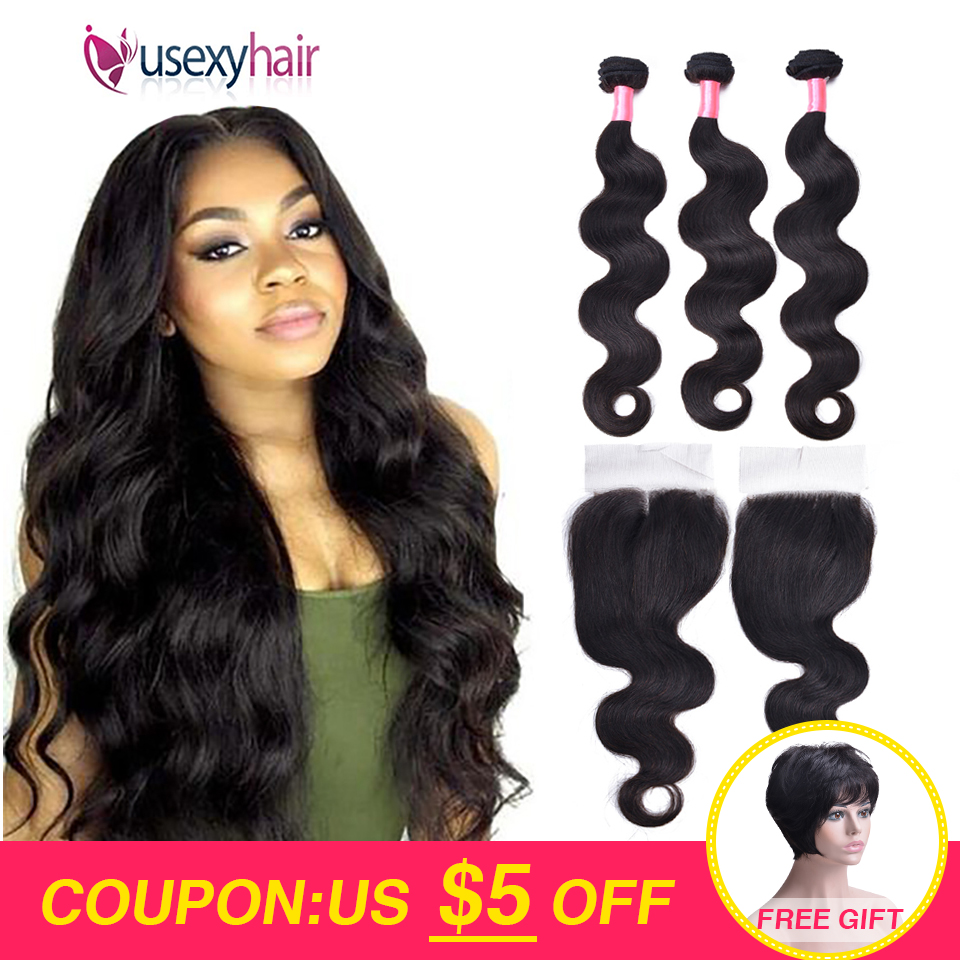 Body Wave Bundles With Closure Brazilian Hair Weave 3 Bundles With Lace Closure Non-Remy Human Hair Bundles With Closure