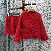 Top Quality New 2019 Autumn Winter Wool Suit Women Wool Cotton Coat Jacket+Mini Warm Wool Skirt Sets & Suits 2 Piece Outfits(China)