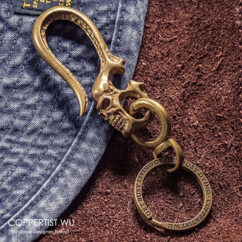 Skull Brass Metal Chain Hook Motorcycle Biker Men Key Ring Polish heavymetal