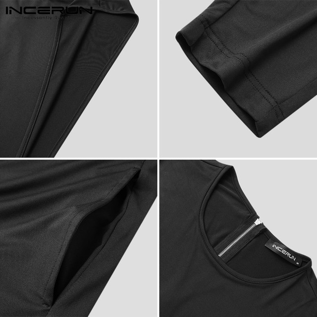 INCERUN Men Solid Color Rompers Sleeveless O Neck Jumpsuits Fashion Fitness Bib Pants Zippers Streetwear Overalls Suspenders 5XL 6