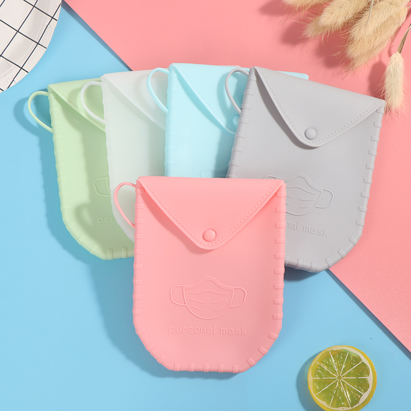1Pc Portable silica gel Mask Clips Disposable Face Mask Storage Case Container Foldable Recycling Mask Holder(China)