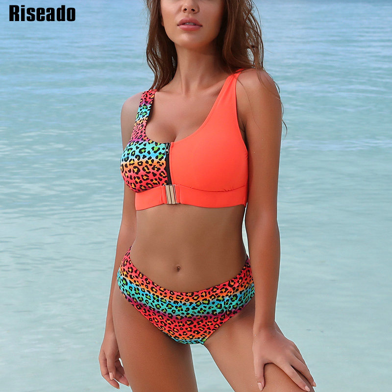 Riseado Sexy Leopard Bikini Set Chest Zipper Swimsuit 2020 New Patchwork Biquini Swimwear Women Strap Bikinis Beach Wear