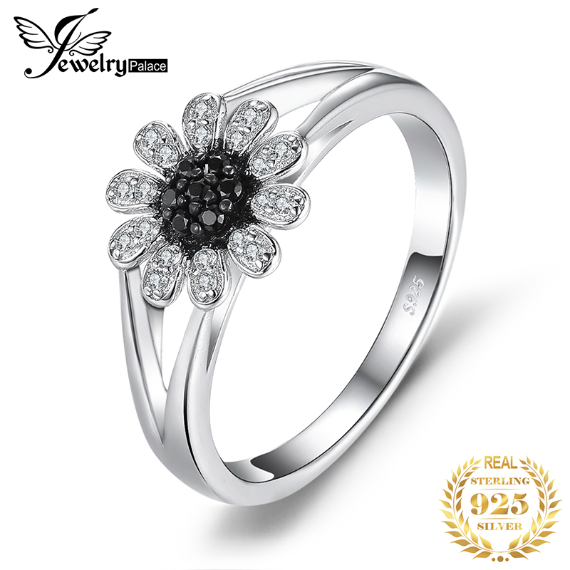 JewelryPalace Flower Genuine Black Spinel Ring 925 Sterling Silver Rings For Women Engagement Ring Silver 925 Gemstones Jewelry