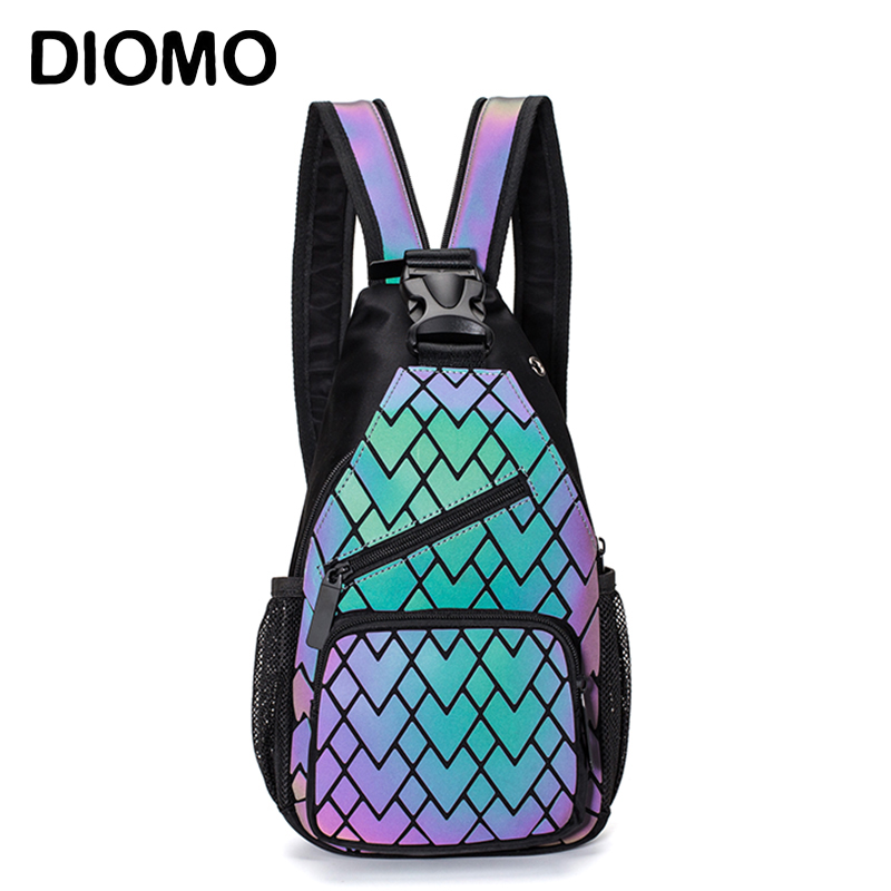 DIOMO New Multipurpose Women Chest Bag Luminous Geometric Small Backpack Teenager Girl Travel Fashion Reflective Sling Bags