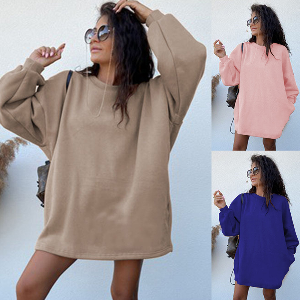 Spring/Autumn Women Dress Thick Round Neck Long Sleeve Pullover Loose Sweater Dress Casual Solid Pockets Femme Mini Dress D30