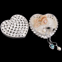 Silver Plated Crystal Rhinestone Heart Shape Jewelry Trinket Box Luxury Handmade Craft