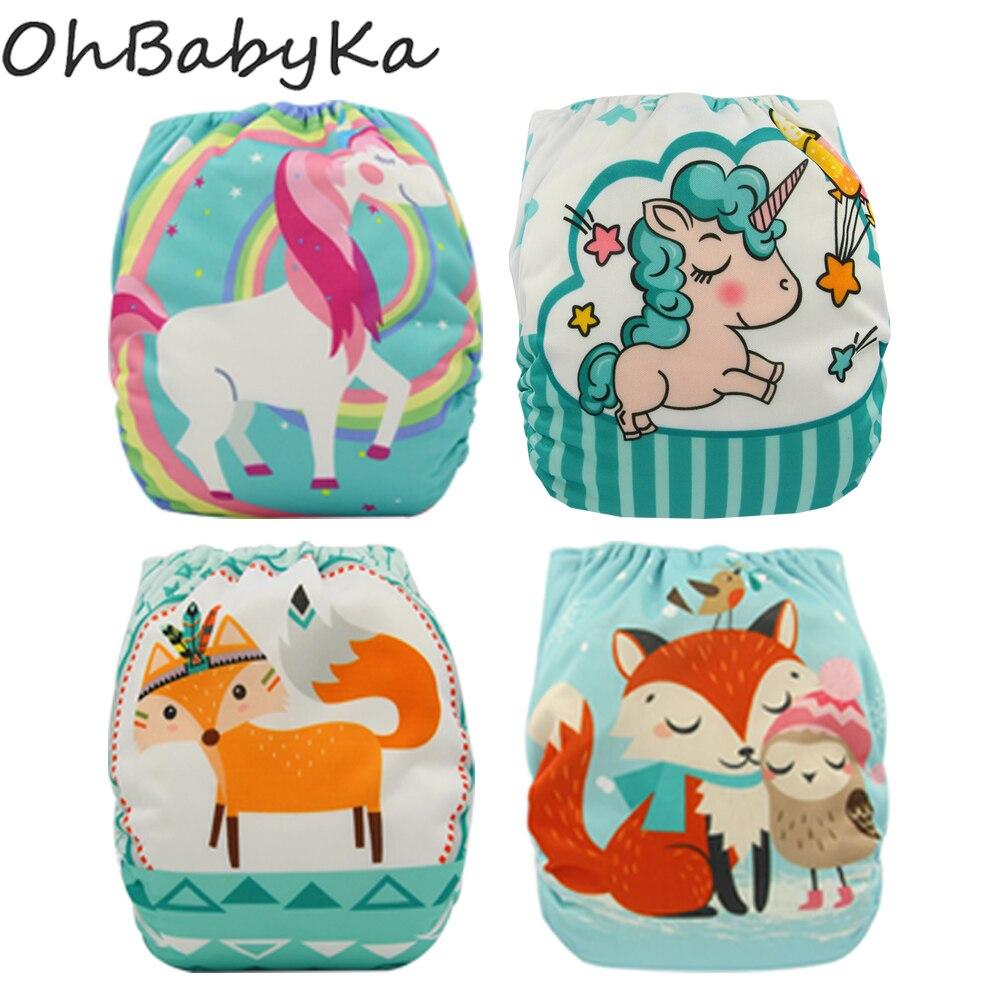 Ohbabyka 4Pcs/set Waterproof Reusable Infant Pocket Cloth Diaper Flamingo Baby Diaper Covers Size Adjustable Baby Training Pants