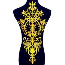 Złota aplikacja żelazko na motyw kwiat Dimija Vintage Diy wykończenia błyszczące metalowe haftowane naszywki złoto i srebro 58cm * 27cm
