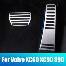 цена на Aluminum alloy Car Accelerator Gas Pedal Brake Pedal Rest Foot Pedal Pedal Non Slip Pad Cover Case AT For Volvo XC60 XC90 S90