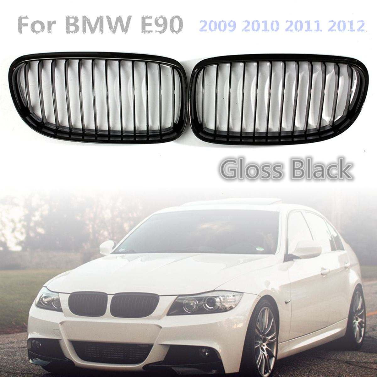 1 Pair Gloss Black Car Baking Varnish Front Kidney Grille Grill For BMW E90 2009 2010 2011 2012 Car Styling