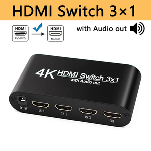 HDMI Switcher with Audio Splitter 3 Input 1 Output HDMI Switch 3x1 for XBOX 360 PS4 Smart Android HDTV 4K 3 in 1 out Adapter