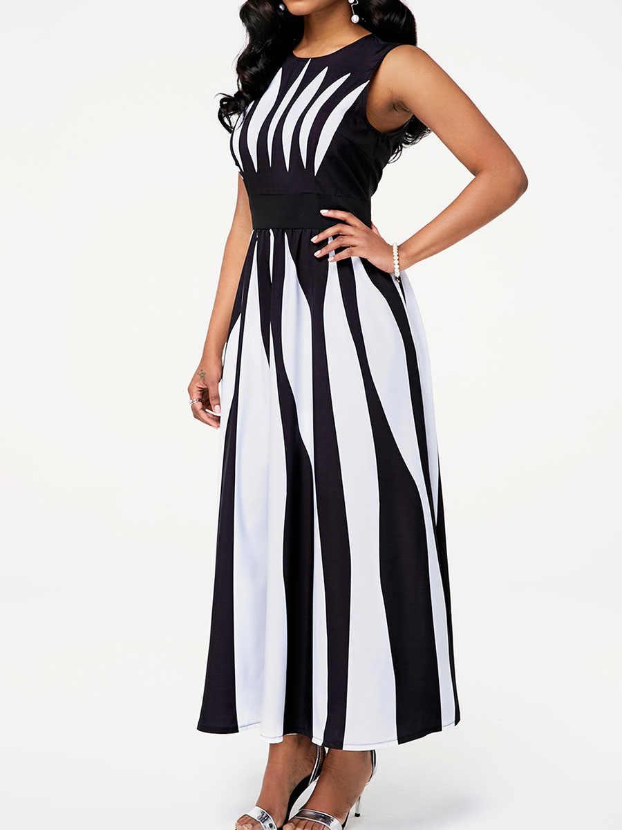 Grande taille noir et blanc couleur bloc Maxi robe femmes sans manches tunique élégant bureau dames été longue robe femme vêtements de travail