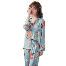 Autumn Womens Sweet Print Long-sleeved Pajamas Set Thin Section Loose Comfortable V-neck Home Clothes