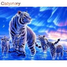 Gatyztory diy Краски ing по номерам белый тигр краска Ван Гог