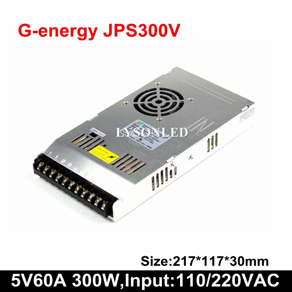 G-energy JPS300V Slim 5V 60A 300W LED Display Switching Power Supply 110/220V AC