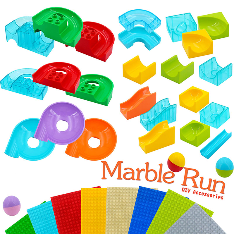 Diy Large Building Blocks Marble Race Run Maze Ball Track Accessories Compatible Toys for Children Xmas gifts